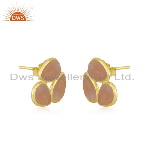 Exporter Rose Chalcedony Gemstone Gold Plated 925 Silver Stud Earring Manufacturer India