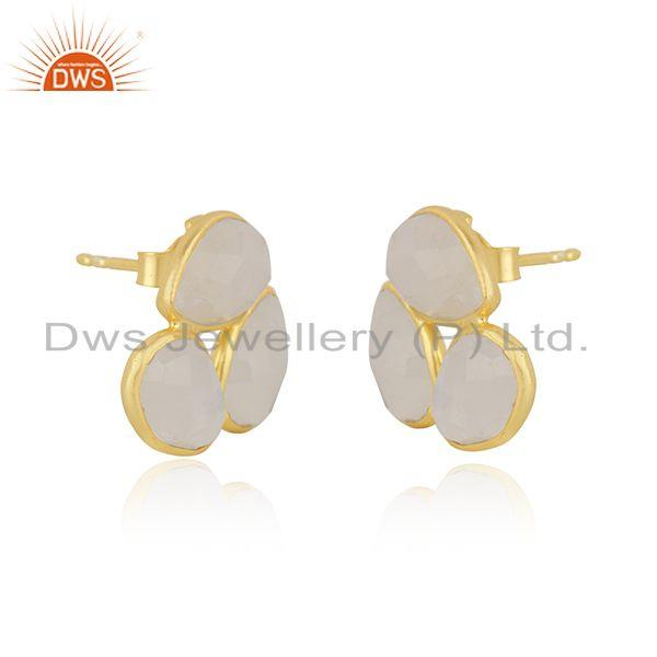 Exporter Rainbow Moonstone Gold Plated 925 Silver Stud Earring Manufacturer India