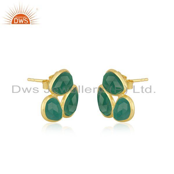 Exporter Green Onyx Gemstone Yellow Gold Plated 925 Silver Stud Earrings For Girls