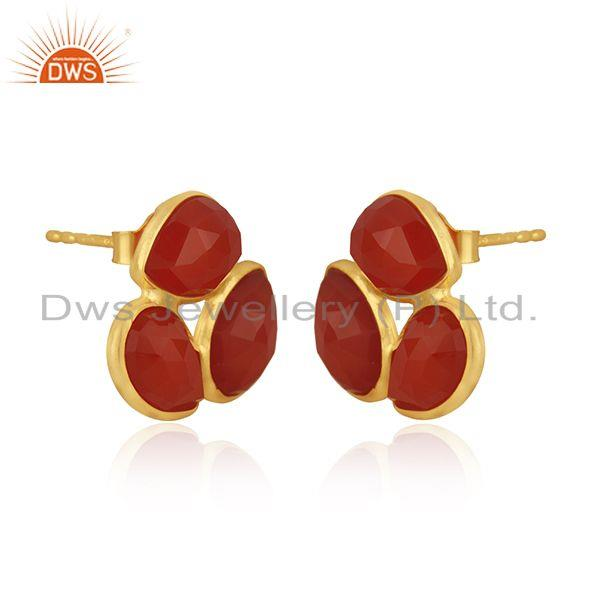 Exporter Red Onyx Gemstone Gold Plated 925 Silver Stud Earring Manufacturer India Jaipur