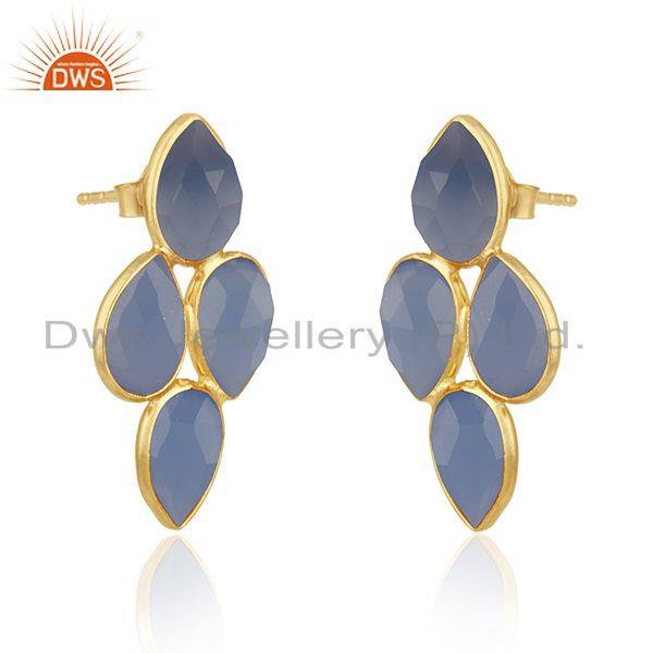 Exporter 925 Silver Gold Plated Blue Chalcedony Gemstone Womens Earrings Jewelry