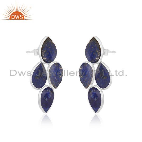 Exporter 925 Sterling Fine Silver Lapis Gemstone Earrings Jewelry Manufacturer