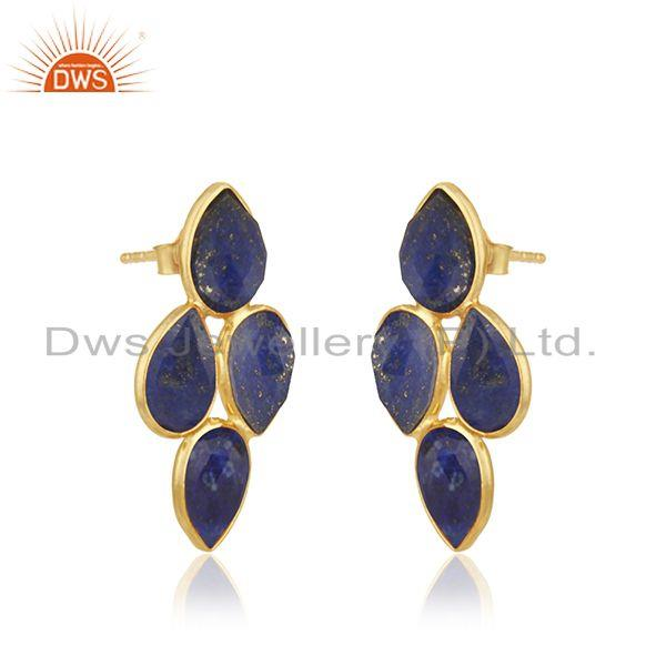 Exporter Natural Lapis Gemstone 925 Silver Gold Plated Leaf Design Earrings Jewelry
