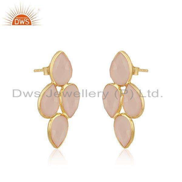Exporter Rose Chalcedony Gemstone 925 Silver Gold Plated Stud Earring Wholesale