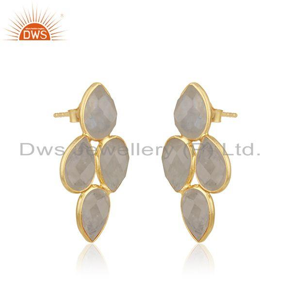 Exporter Rainbow Moonstone Gold Plated Sterling Silver Stud Earring Manufacturer Jaipur
