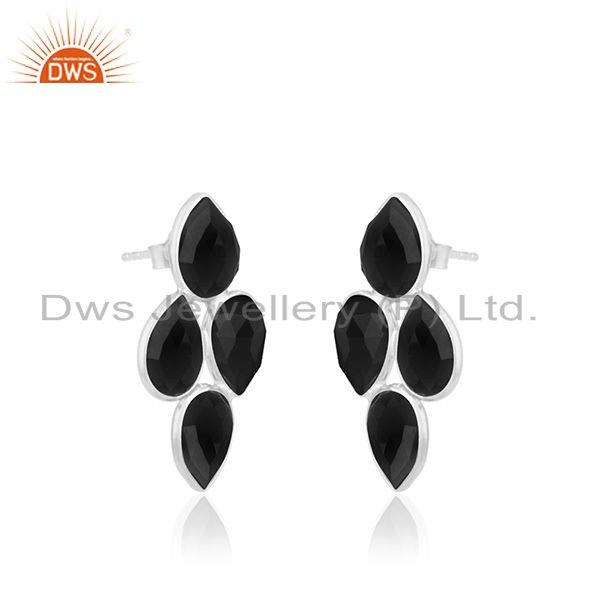Exporter Black Onyx Gemstone Fine Sterling Silver Womens Earring Manufacturer India