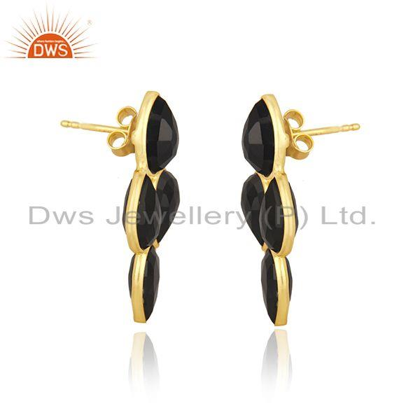 Exporter Black Onyx Gemstone Yellow Gold Plated 925 Silver Stud Earring Manufacturer