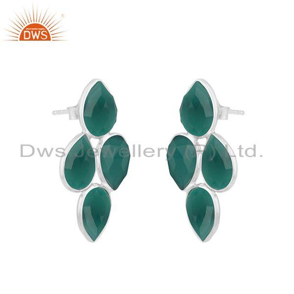 Exporter Green Onyx Gemstone Fine Sterling Silver Simple Earring for Womens Jewelry