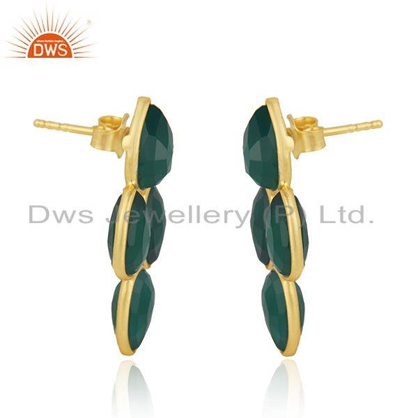 Exporter Green Onyx Gemstone Gold Plated 925 Silver Earring Wholesaler