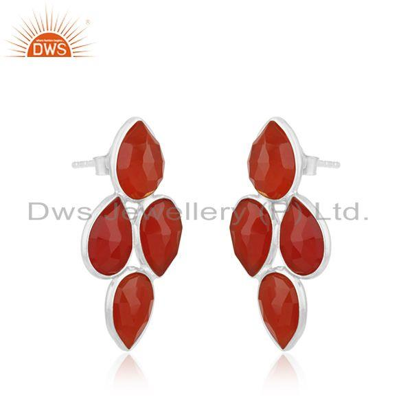 Exporter Red Onyx Gemstone Fine Sterling Silver Stud Earring Manufacturer Jewelry