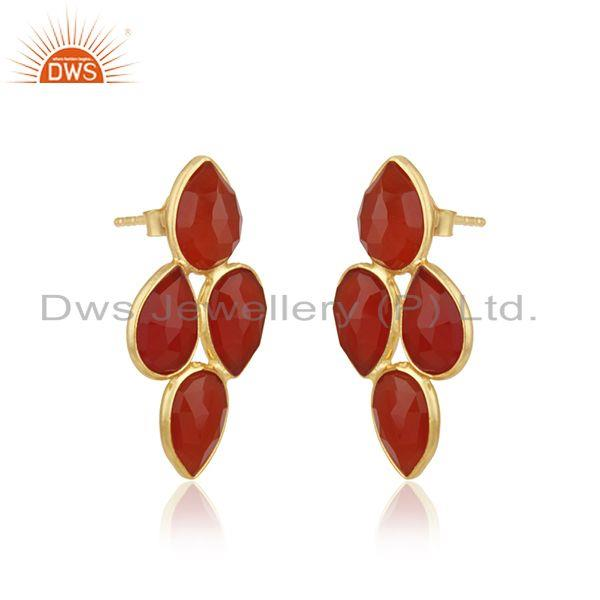 Exporter Red Onyx Gemstone Gold Plated 925 Silver Earrings Jewelry Manufacturer