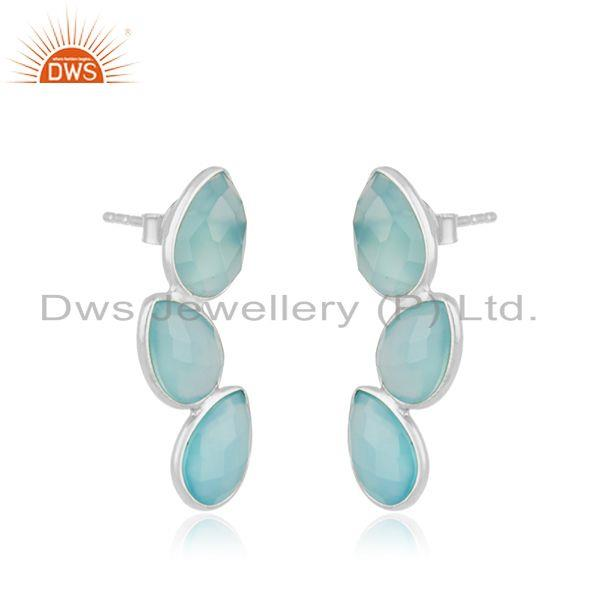 Exporter Chalcedony Aqua Gemstone Sterling Fine Silver Stud Earring Suppliers India