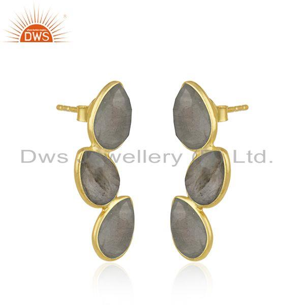 Exporter Natural Labradorite Gemstone Silver Gold Plated Designer Earrings Jewelry