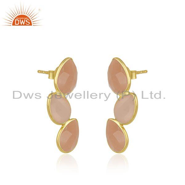 Exporter Rose Chalcedony Gemstone Gold Plated 925 Silver Stud Earring Wholesaler