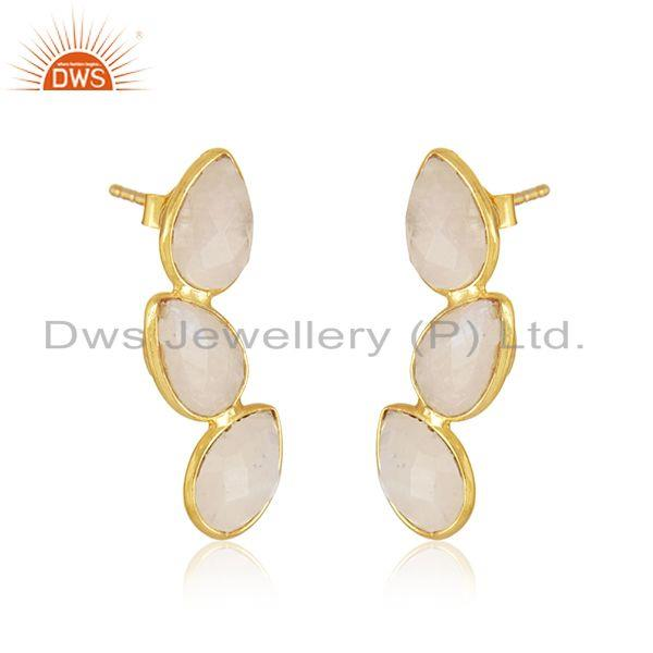 Exporter Rainbow Moonstone Gold Plated Designer Silver Earrings Jewelry