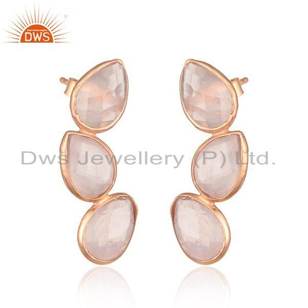 Exporter Rose Gold Plated Leaf Design Silver Rose Quartz Earrings Jewelry