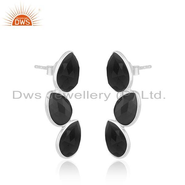 Exporter Sterling Fine Silver Natural Black Onyx Gemstone Earrings Jewelry