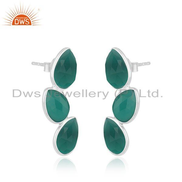 Exporter New Sterling Fine Silver Green Onyx Gemstone Leaf Earrings Jewelry