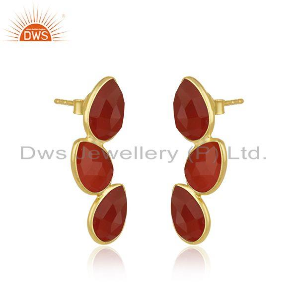 Exporter Gold Plated Designer Silver Red Onyx Gemstone Leaf Earrings Jewelry