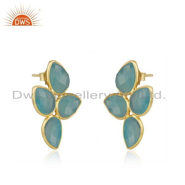 Exporter Aqua Chalcedony Gemstone Gold Plated Designer Silver Leaf Earrings Jewelry