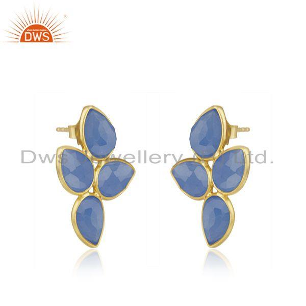 Exporter Leaf Gold Plated Silver Blue Chalcedony Gemstone Earrings Jewelry