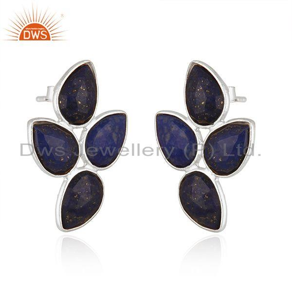Exporter 925 Sterling Silver Leaf Design Lapis Gemstone Earrings Jewelry