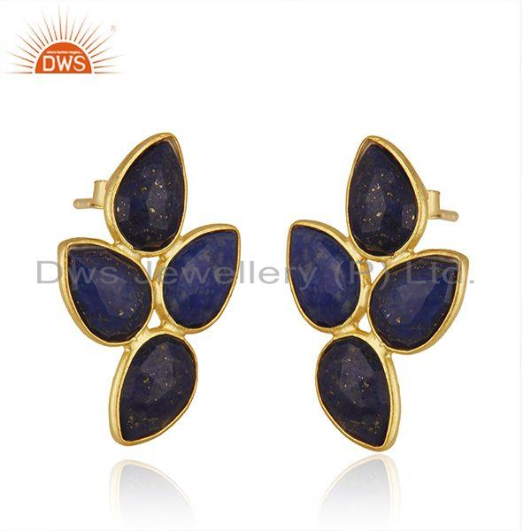 Exporter New Arrival Gold Plated 925 Silver Lapis Gemstone Leaf Earrings Jewelry Supplier