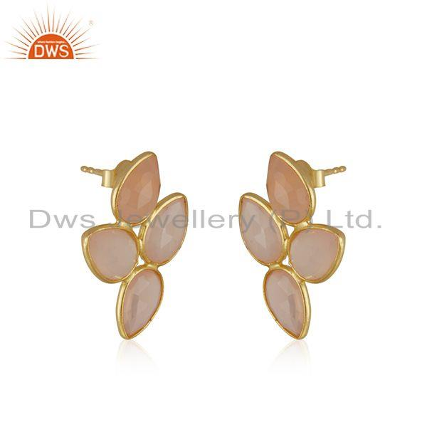 Exporter Yellow Gold Plated Sterling Silver Rose Chalcedony Stud Earring Manufacturer