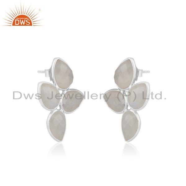 Exporter 925 Sterling Silver Rainbow Moonstone Gemstone Earrings Supplier