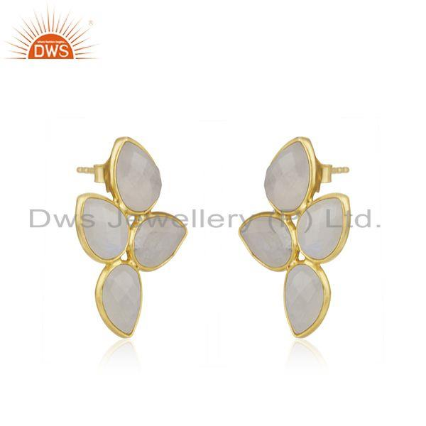 Exporter Handmade Gold Plated 925 Silver Rainbow Moonstone Stud Earrings Jewelry