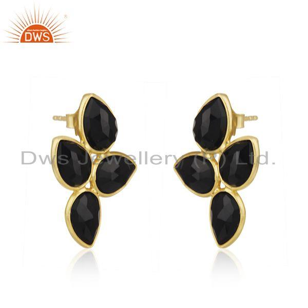 Exporter Natural Black Onyx Gold Plated Silver Gemstone Earrings Jewelry