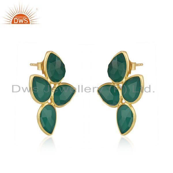 Exporter Natural Green Onyx Gold Plated Designer Silver Earrings Jewelry