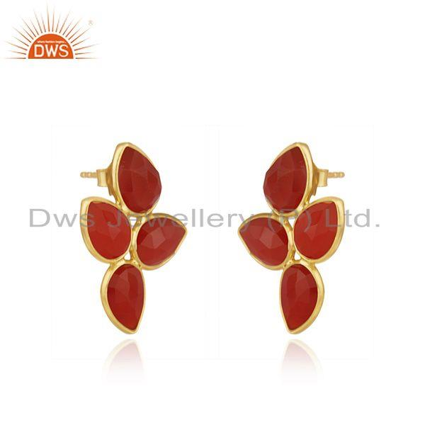 Exporter Red Onyx Gemstone 18k Gold Plated Silver Earrings Jewelry