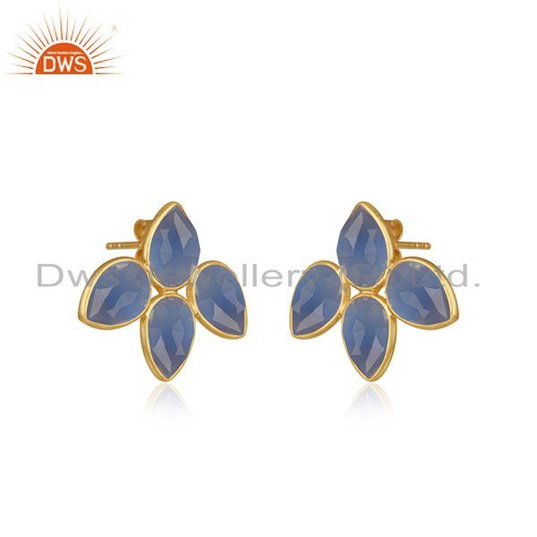 Exporter Indian 18k Gold Plated Silver Blue Chalcedony Gemstone Stud Earrings Jewelry