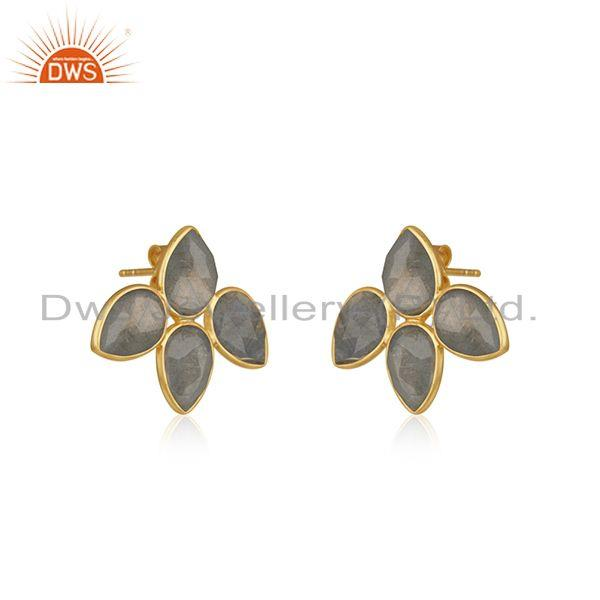 Exporter 18k Gold Plated 925 Silver Labradorite Gemstone Stud Earrings Jewelry
