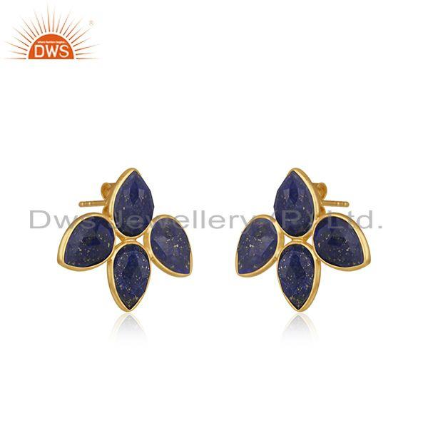 Exporter Natural Lapis Gemstone 18k Gold Plated leaf Stud Earrings Jewelry