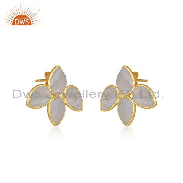 Exporter Rainbow Moonstone 14k Gold Plated Sterling Silver Stud Earrings Jewelry