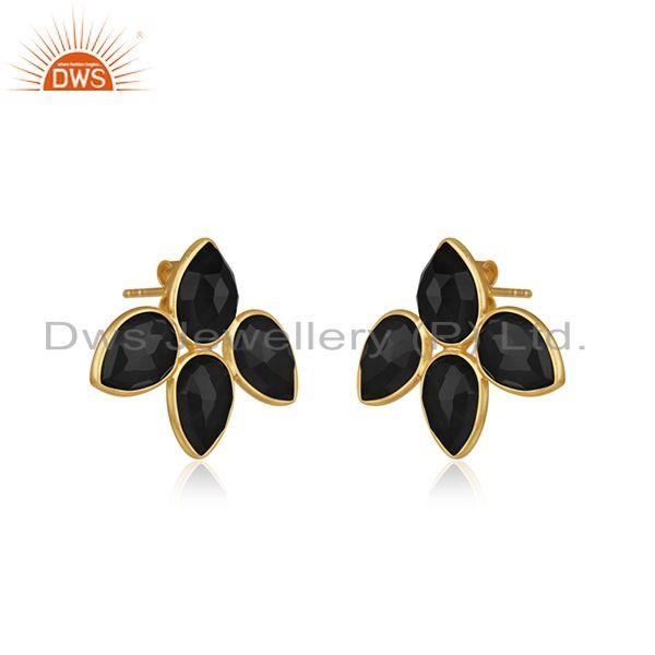 Exporter Black Onyx Gemstone Gold Plated Silver Leaf Stud Earrings Jewelry