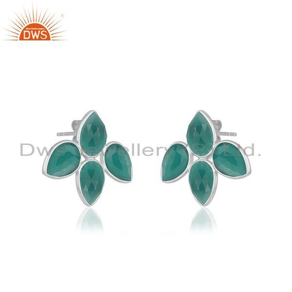 Exporter Natural Green Onyx Gemstone Designer Fine Silver Earrings Jewelry