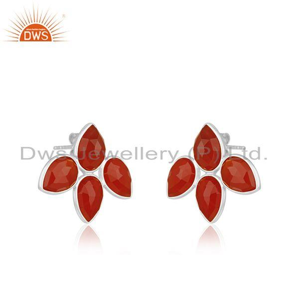 Exporter Indian 925 Silver Natural Red Onyx Gemstone Stud Earrings Jewelry