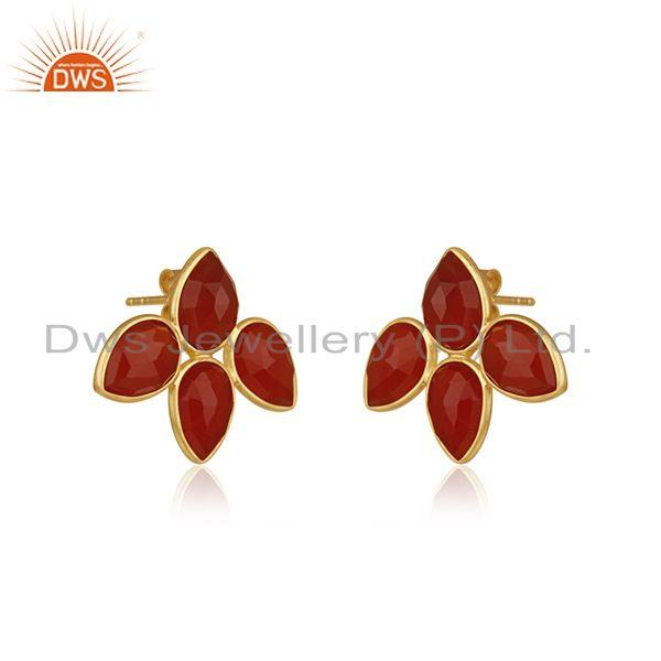 Exporter Red Onyx Gemstone Leaf Design Gold Plated 925 Silver Stud Earrings Jewelry