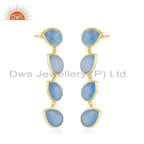 Exporter Blue Chalcedony Gemstone Gold Plated 925 Silver Dangle Earrings Jewelry