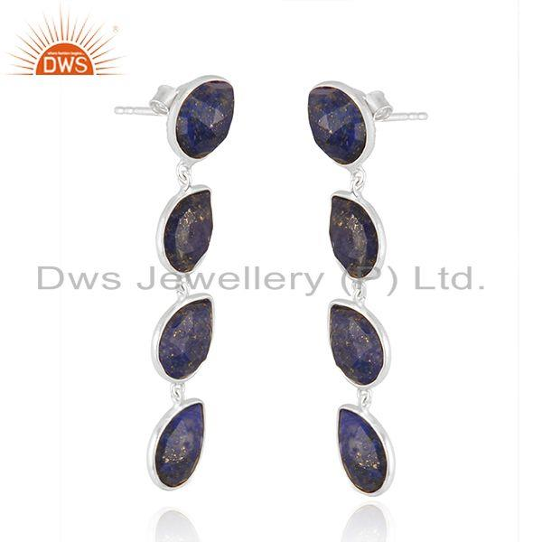 Exporter Manufacturer Sterling Silver Lapis Gemstone Dangle Earrings Jewelry