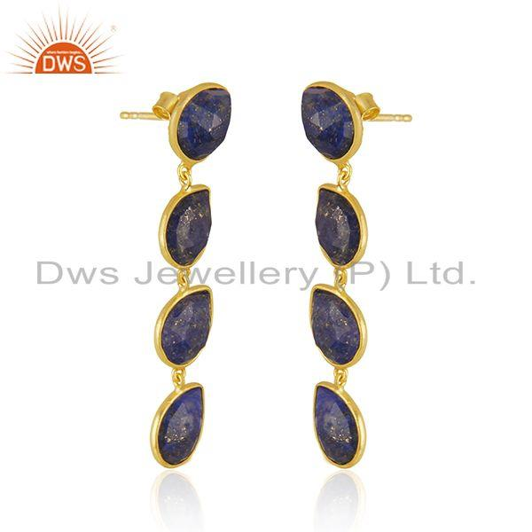 Exporter Natural Lapis Gemstone 18k Gold Plated 925 Silver Dangle Earrings Jewelry