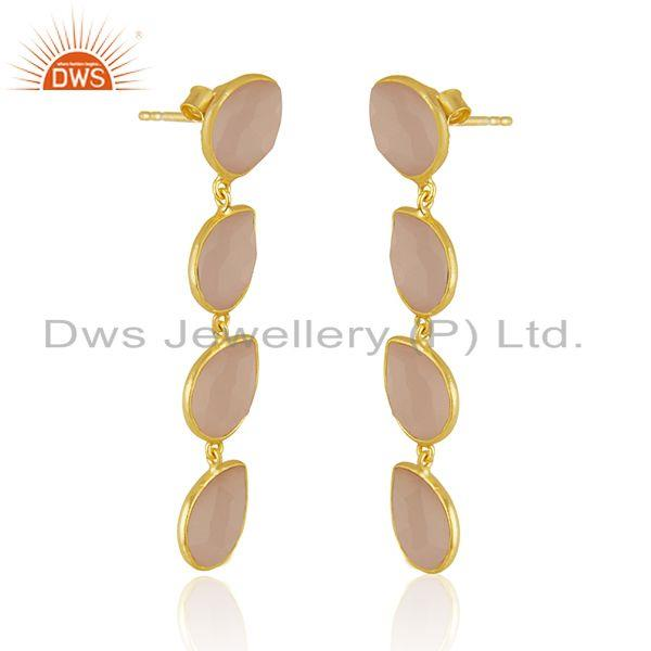 Exporter 14k Gold Plated Designer Silver Rose Chalcedony Dangle Earrings Jewelry