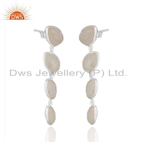 Exporter Rainbow Moonstone Fine Sterling Silver Earring Manufacturer India