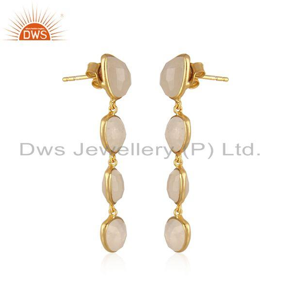 Exporter Natural Rainbow Moonstone Gold Plated 92.5 Silver Dangle Earrings Supplier INdia