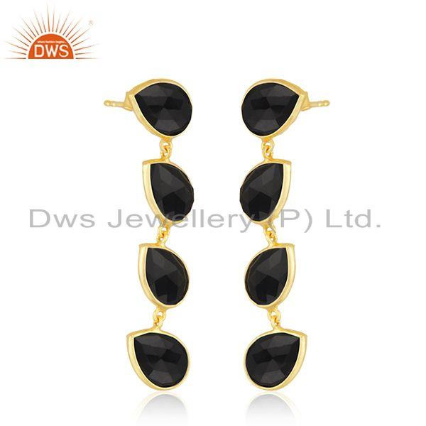 Exporter Natural Black Onyx Gemstone Dangle Earring Silver Gold Plated Jewelry