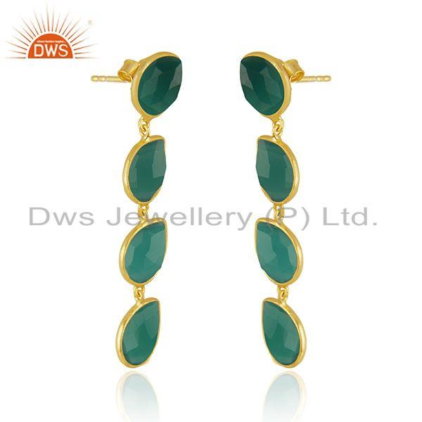 Exporter Green Onyx Gemstone 14k Gold Plated 925 Silver Earrings Jewelry