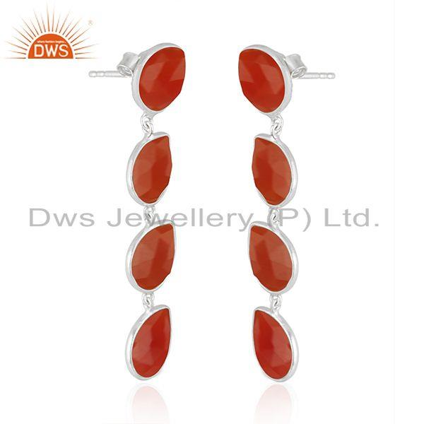Exporter Indian Red Onyx Gemstone Sterling Fine Silver Dangle Earrings Jewelry